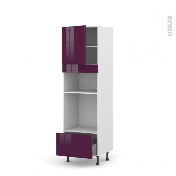 Colonne de cuisine N°1610 - Four+MO encastrable niche 36/38 - KERIA Aubergine - 1 porte 1 tiroir - L60 x H195 x P58 cm