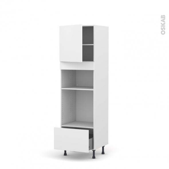 Colonne de cuisine N°1610 - Four+MO encastrable niche 36/38 - GINKO Blanc - 1 porte 1 tiroir - L60 x H195 x P58 cm
