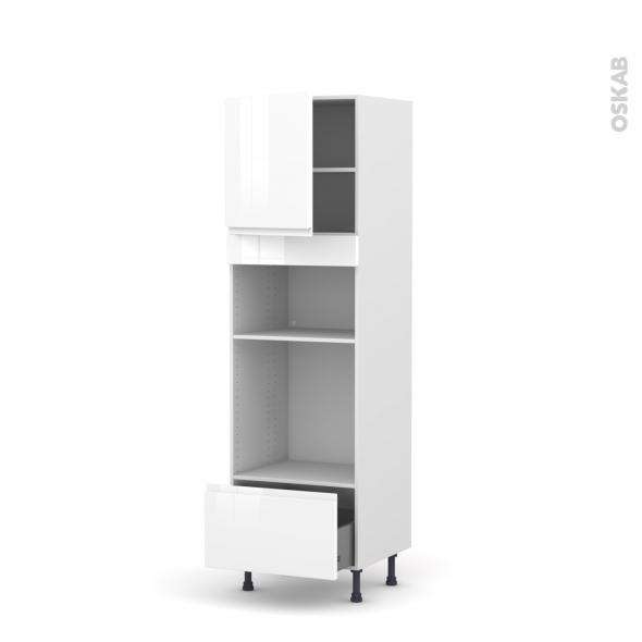Colonne de cuisine N°1610 - Four+MO encastrable niche 36/38 - IPOMA Blanc brillant - 1 porte 1 tiroir - L60 x H195 x P58 cm