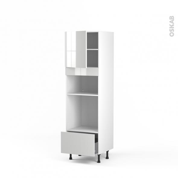 Colonne de cuisine N°1610 - Four+MO encastrable niche 36/38 - STECIA Blanc - 1 porte 1 tiroir - L60 x H195 x P58 cm