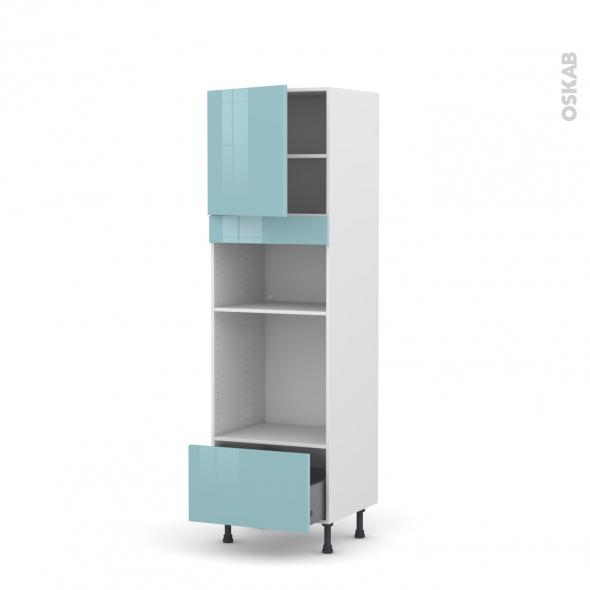 Colonne de cuisine N°1610 - Four+MO encastrable niche 36/38 - KERIA Bleu - 1 porte 1 tiroir - L60 x H195 x P58 cm