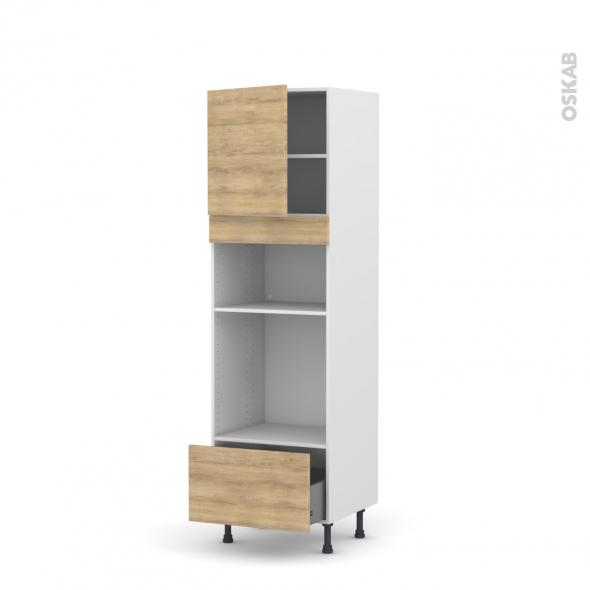 Colonne de cuisine N°1610 - Four+MO encastrable niche 36/38 - HOSTA Chêne naturel - 1 porte 1 tiroir - L60 x H195 x P58 cm