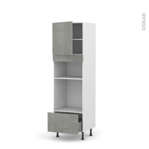 Colonne de cuisine N°1610 - Four+MO encastrable niche 36/38 - FAKTO Béton - 1 porte 1 tiroir - L60 x H195 x P58 cm
