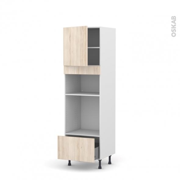 Colonne de cuisine N°1610 - Four+MO encastrable niche 36/38 - IKORO Chêne clair - 1 porte 1 tiroir - L60 x H195 x P58 cm
