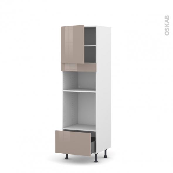 Colonne de cuisine N°1610 - Four+MO encastrable niche 36/38 - KERIA Moka - 1 porte 1 tiroir - L60 x H195 x P58 cm