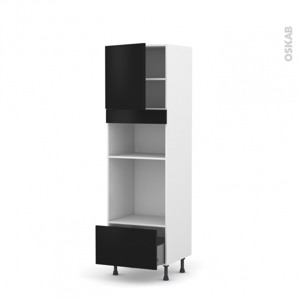 GINKO Noir - Colonne Four+MO 36/38 N°1610  - 1 porte 1 tiroir - L60xH195xP58