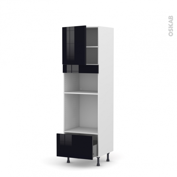 KERIA Noir - Colonne Four+MO 36/38 N°1610  - 1 porte 1 tiroir - L60xH195xP58