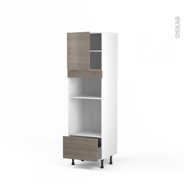Colonne de cuisine N°1610 - Four+MO encastrable niche 36/38 - STILO Noyer Naturel - 1 porte 1 tiroir - L60 x H195 x P58 cm