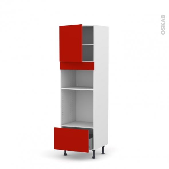 GINKO Rouge - Colonne Four+MO 36/38 N°1610  - 1 porte 1 tiroir - L60xH195xP58