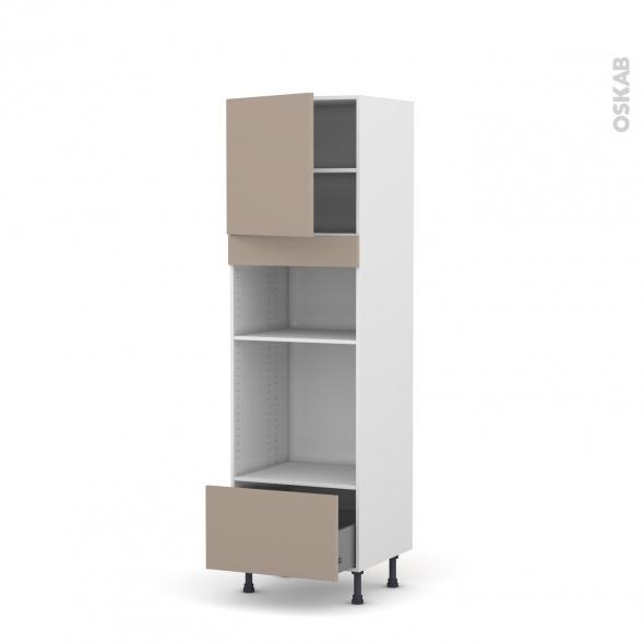 Colonne de cuisine N°1610 - Four+MO encastrable niche 36/38 - GINKO Taupe - 1 porte 1 tiroir - L60 x H195 x P58 cm