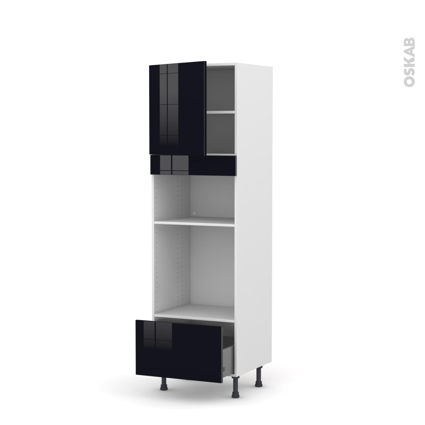 Colonne Four Et Micro Onde colonne de cuisine n°1610 four+mo encastrable niche 36/38 keria noir, 1  porte 1 tiroir, l60 x h195 x p58 cm