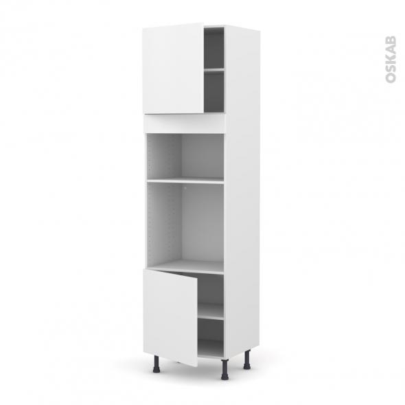 Colonne de cuisine N°1616 - Four+MO encastrable niche 36/38 - GINKO Blanc - 2 portes - L60 x H217 x P58 cm