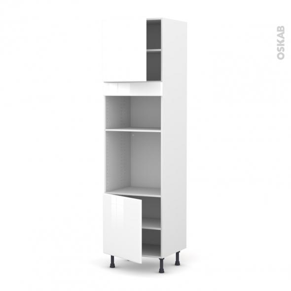 Colonne de cuisine N°1616 - Four+MO encastrable niche 36/38 - IRIS Blanc - 2 portes - L60 x H217 x P58 cm