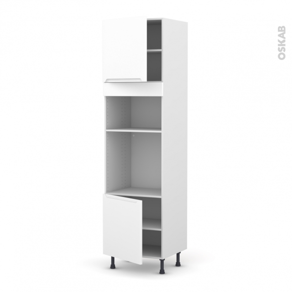 Colonne de cuisine N°1616 - Four+MO encastrable niche 36/38 - PIMA Blanc - 2 portes - L60 x H217 x P58 cm
