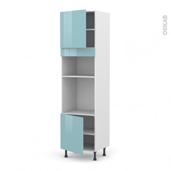 Colonne de cuisine N°1616 - Four+MO encastrable niche 36/38 - KERIA Bleu - 2 portes - L60 x H217 x P58 cm