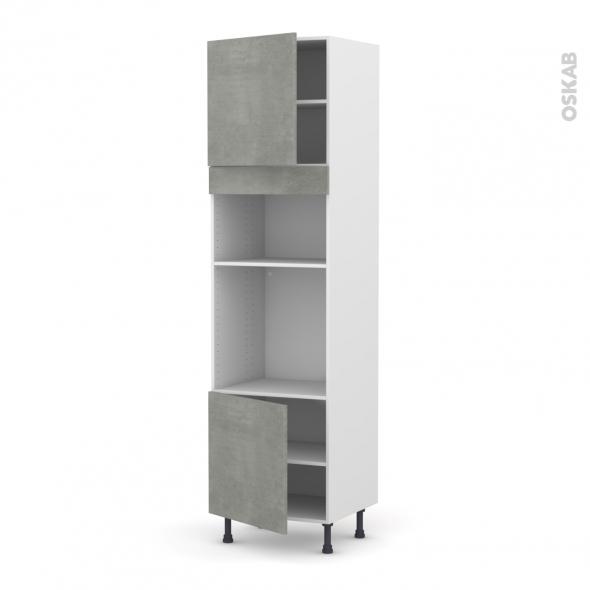 Colonne de cuisine N°1616 - Four+MO encastrable niche 36/38 - FAKTO Béton - 2 portes - L60 x H217 x P58 cm
