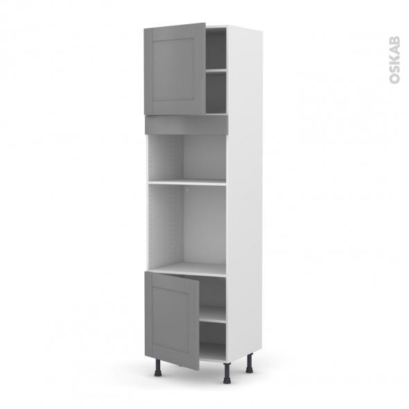 Colonne de cuisine N°1616 - Four+MO encastrable niche 36/38 - FILIPEN Gris - 2 portes - L60 x H217 x P58 cm