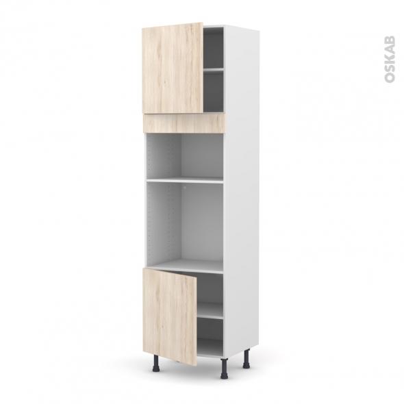 Colonne de cuisine N°1616 - Four+MO encastrable niche 36/38 - IKORO Chêne clair - 2 portes - L60 x H217 x P58 cm