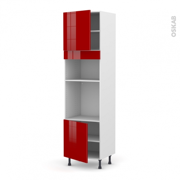 Colonne de cuisine N°1616 - Four+MO encastrable niche 36/38 - STECIA Rouge - 2 portes - L60 x H217 x P58 cm