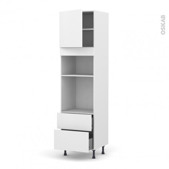 GINKO Blanc - Colonne Four+MO 36/38 N°1658  - 1 porte 2 casseroliers - L60xH217xP58
