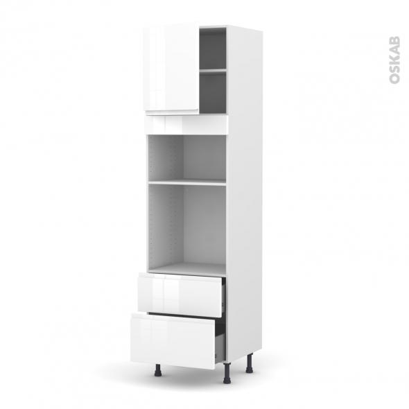 Colonne de cuisine N°1658 - Four+MO encastrable niche 36/38 - IPOMA Blanc brillant - 1 porte 2 casseroliers - L60 x H217 x P58 cm