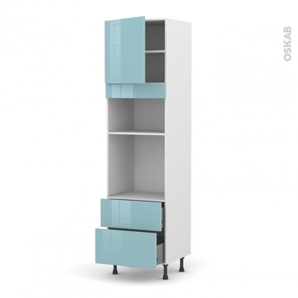 Colonne de cuisine N°1658 - Four+MO encastrable niche 36/38 - KERIA Bleu - 1 porte 2 casseroliers - L60 x H217 x P58 cm