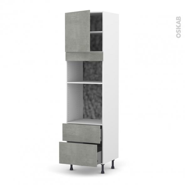 Colonne de cuisine N°1658 - Four+MO encastrable niche 36/38 - FAKTO Béton - 1 porte 2 casseroliers - L60 x H217 x P58 cm