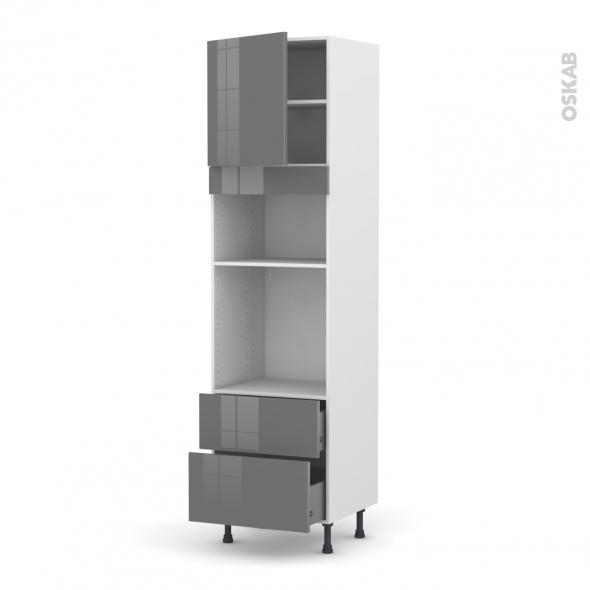 Colonne de cuisine N°1658 - Four+MO encastrable niche 36/38 - STECIA Gris - 1 porte 2 casseroliers - L60 x H217 x P58 cm