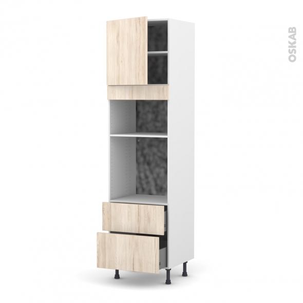 Colonne de cuisine N°1658 - Four+MO encastrable niche 36/38 - IKORO Chêne clair - 1 porte 2 casseroliers - L60 x H217 x P58 cm