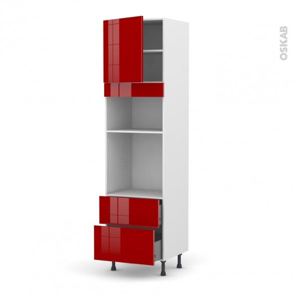 Colonne de cuisine N°1658 - Four+MO encastrable niche 36/38 - STECIA Rouge - 1 porte 2 casseroliers - L60 x H217 x P58 cm