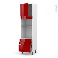 Colonne de cuisine N°1659 - Four+MO encastrable niche 36/38 - STECIA Rouge - 1 porte 3 tiroirs - L60 x H217 x P58 cm
