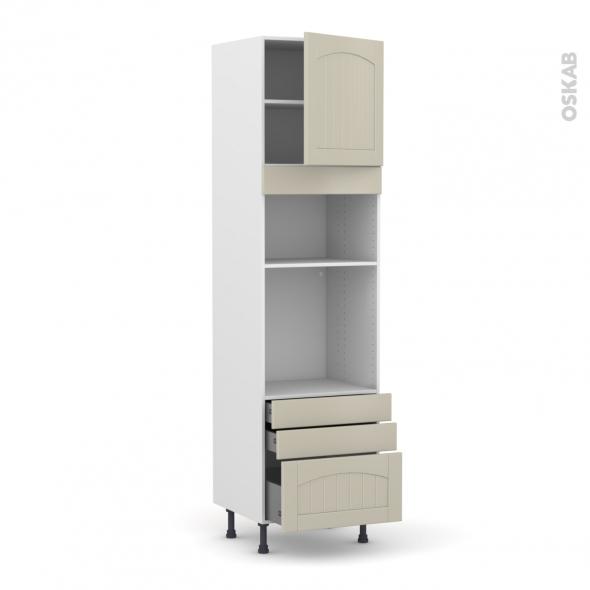 SILEN Argile - Colonne Four+MO 36/38 N°1659  - 1 porte 3 tiroirs - L60xH217xP58 - droite