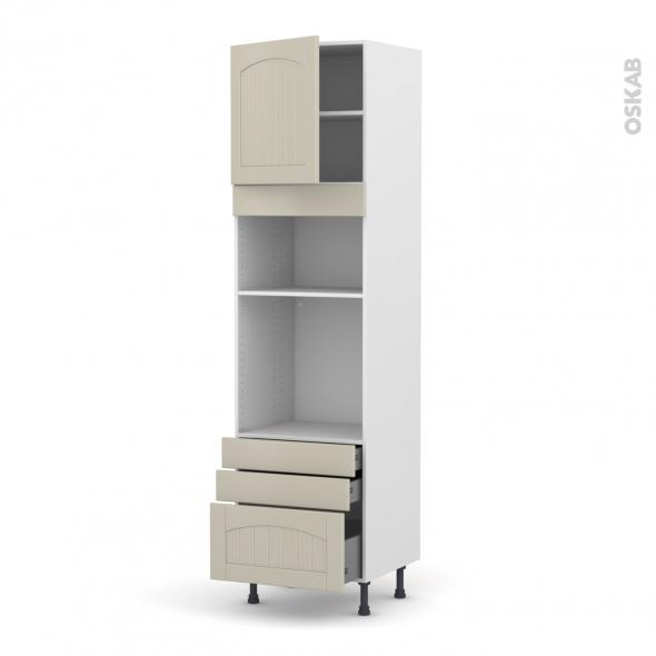 SILEN Argile - Colonne Four+MO 36/38 N°1659  - 1 porte 3 tiroirs - L60xH217xP58 - gauche