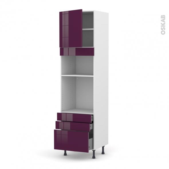 KERIA Aubergine - Colonne Four+MO 36/38 N°1659  - 1 porte 3 tiroirs - L60xH217xP58