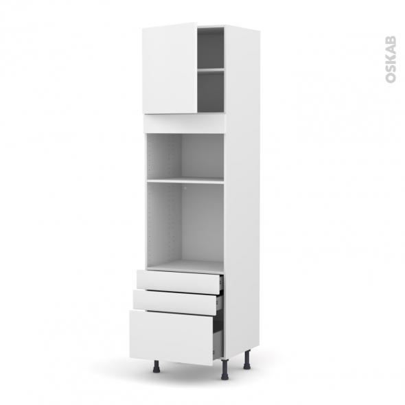 Colonne de cuisine N°1659 - Four+MO encastrable niche 36/38 - GINKO Blanc - 1 porte 3 tiroirs - L60 x H217 x P58 cm