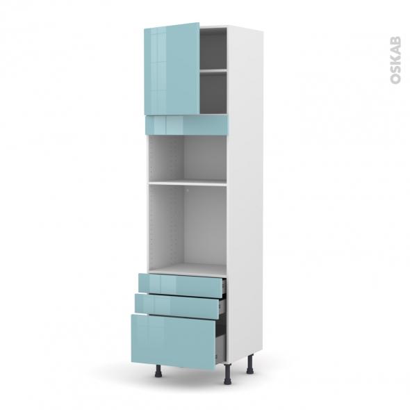 Colonne de cuisine N°1659 - Four+MO encastrable niche 36/38 - KERIA Bleu - 1 porte 3 tiroirs - L60 x H217 x P58 cm