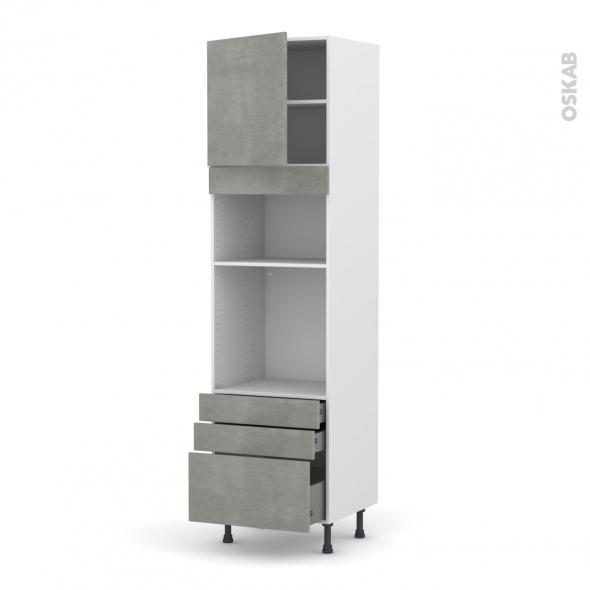 Colonne de cuisine N°1659 - Four+MO encastrable niche 36/38 - FAKTO Béton - 1 porte 3 tiroirs - L60 x H217 x P58 cm