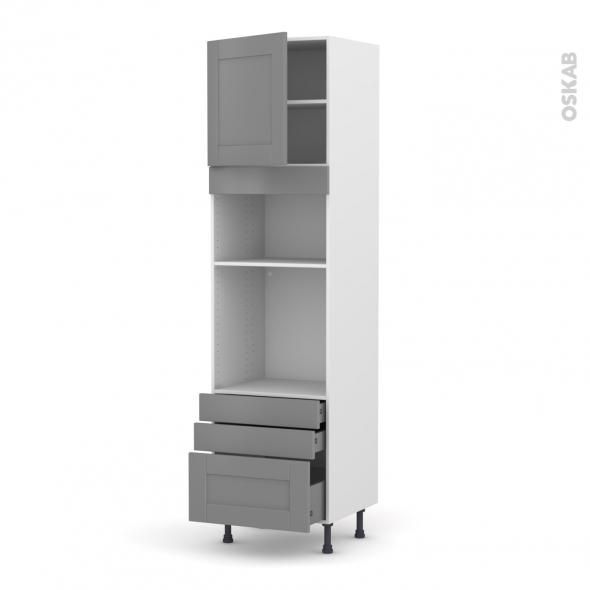 Colonne de cuisine N°1659 - Four+MO encastrable niche 36/38 - FILIPEN Gris - 1 porte 3 tiroirs - L60 x H217 x P58 cm
