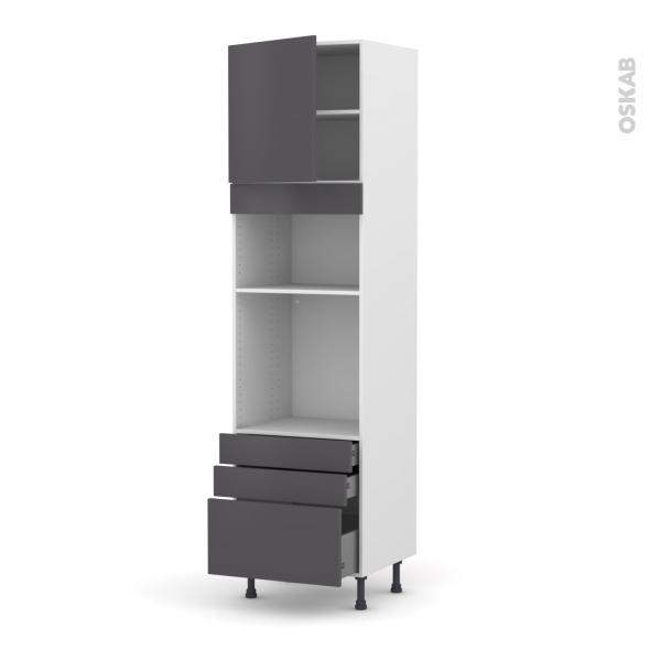 Colonne de cuisine N°1659 - Four+MO encastrable niche 36/38 - GINKO Gris - 1 porte 3 tiroirs - L60 x H217 x P58 cm