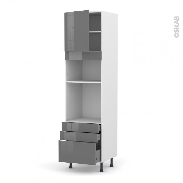 Colonne de cuisine N°1659 - Four+MO encastrable niche 36/38 - STECIA Gris - 1 porte 3 tiroirs - L60 x H217 x P58 cm