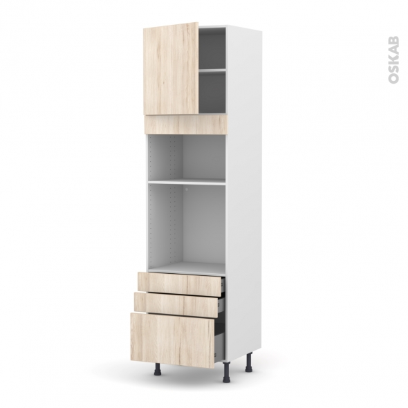 Colonne de cuisine N°1659 - Four+MO encastrable niche 36/38 - IKORO Chêne clair - 1 porte 3 tiroirs - L60 x H217 x P58 cm