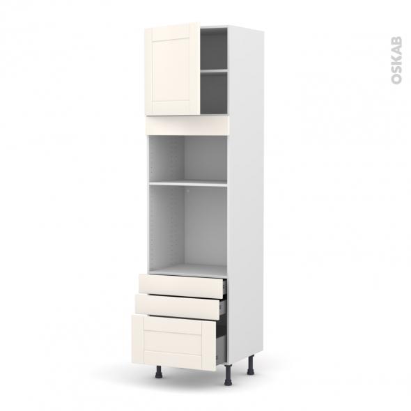 Colonne de cuisine N°1659 - Four+MO encastrable niche 36/38 - FILIPEN Ivoire - 1 porte 3 tiroirs - L60 x H217 x P58 cm