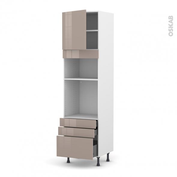 Colonne de cuisine N°1659 - Four+MO encastrable niche 36/38 - KERIA Moka - 1 porte 3 tiroirs - L60 x H217 x P58 cm