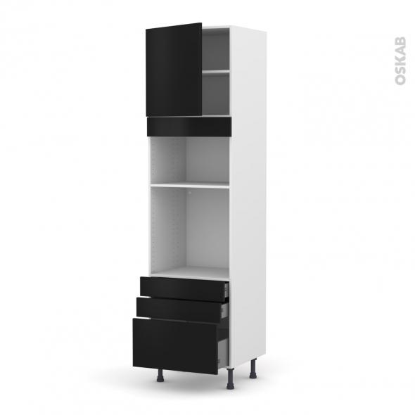 Colonne de cuisine N°1659 - Four+MO encastrable niche 36/38 - GINKO Noir - 1 porte 3 tiroirs - L60 x H217 x P58 cm