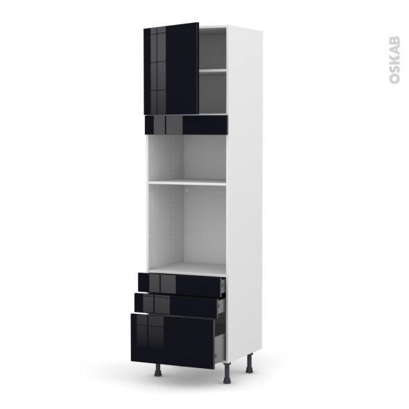 Colonne de cuisine N°1659 - Four+MO encastrable niche 36/38 - KERIA Noir - 1 porte 3 tiroirs - L60 x H217 x P58 cm