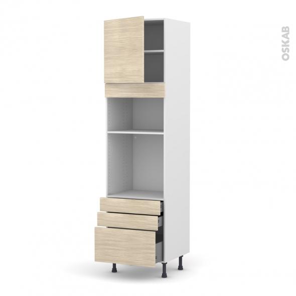 Colonne de cuisine N°1659 - Four+MO encastrable niche 36/38 - STILO Noyer Blanchi - 1 porte 3 tiroirs - L60 x H217 x P58 cm