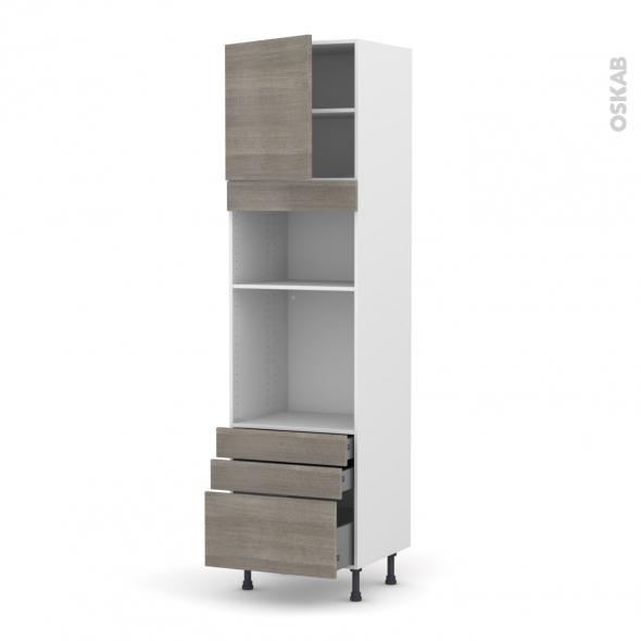 Colonne de cuisine N°1659 - Four+MO encastrable niche 36/38 - STILO Noyer Naturel - 1 porte 3 tiroirs - L60 x H217 x P58 cm