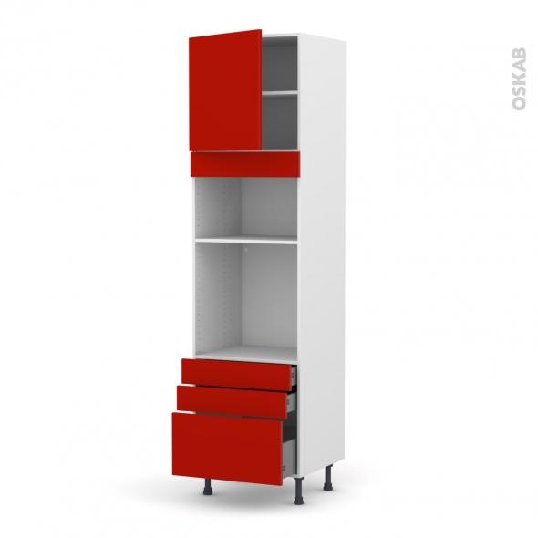 GINKO Rouge - Colonne Four+MO 36/38 N°1659  - 1 porte 3 tiroirs - L60xH217xP58