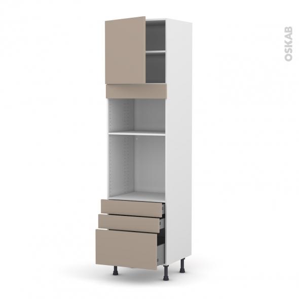 Colonne de cuisine N°1659 - Four+MO encastrable niche 36/38 - GINKO Taupe - 1 porte 3 tiroir - L60 x H217 x P58 cm