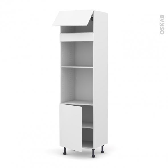 Colonne de cuisine N°1021 - Four+MO encastrable niche 45 - GINKO Blanc - 1 abattant 1 porte - L60 x H217 x P58 cm